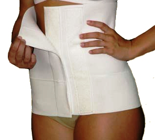 """This binder offers low-profile Velcro at closure - always a nice soft feature with room for adjustments when swelling depletes. Make sure your binder covers all areas where compression is needed. Binder should measure from band to groin over 12"""" length."""