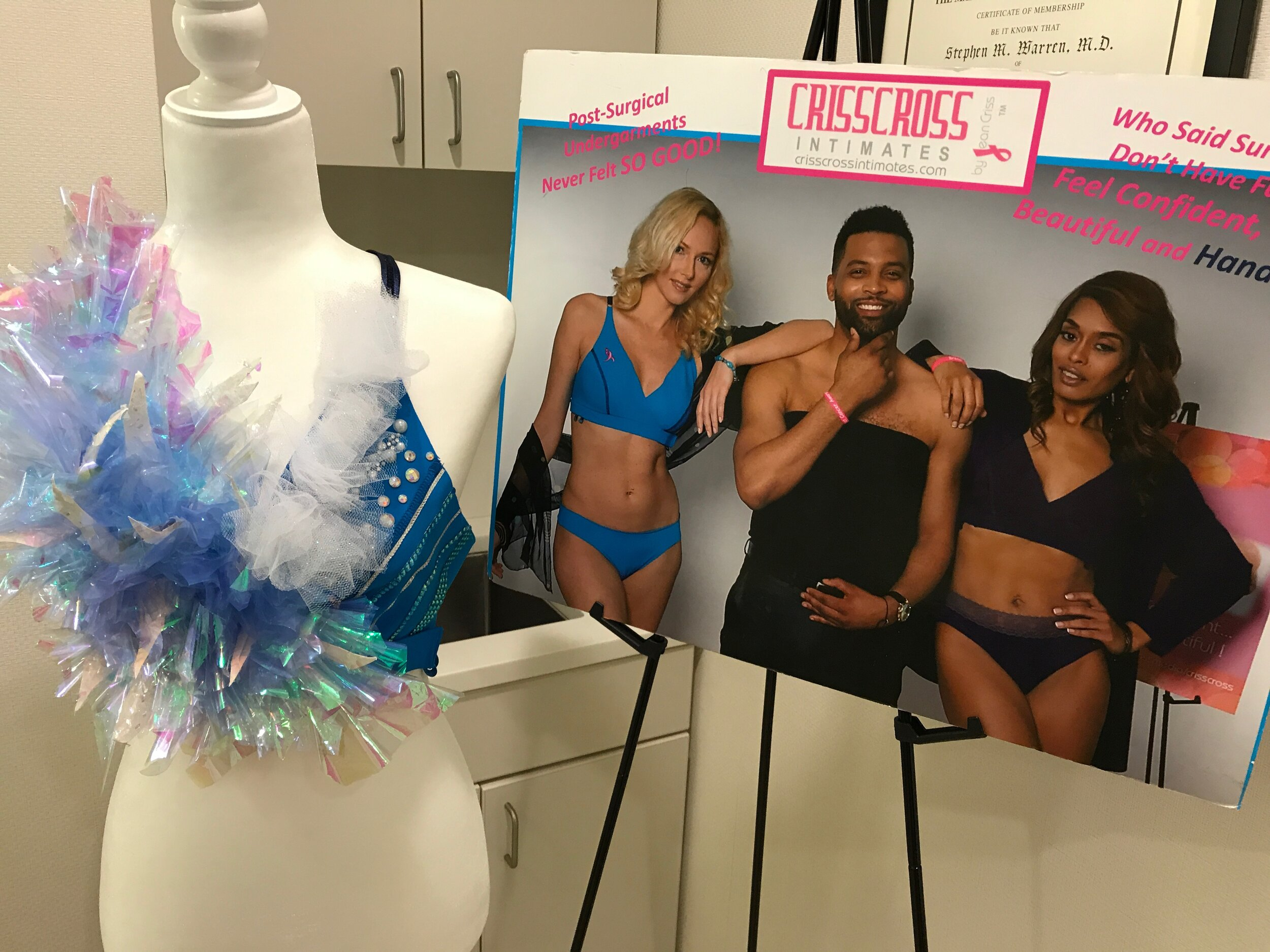 On display throughout the year at Dr. Constance Chen's Park Ave. Office and at the June 2020 FORCE annual Bosom Buddy Fashion Show will be the CRISSCROSS feather and glam Bra shown here. Exciting!
