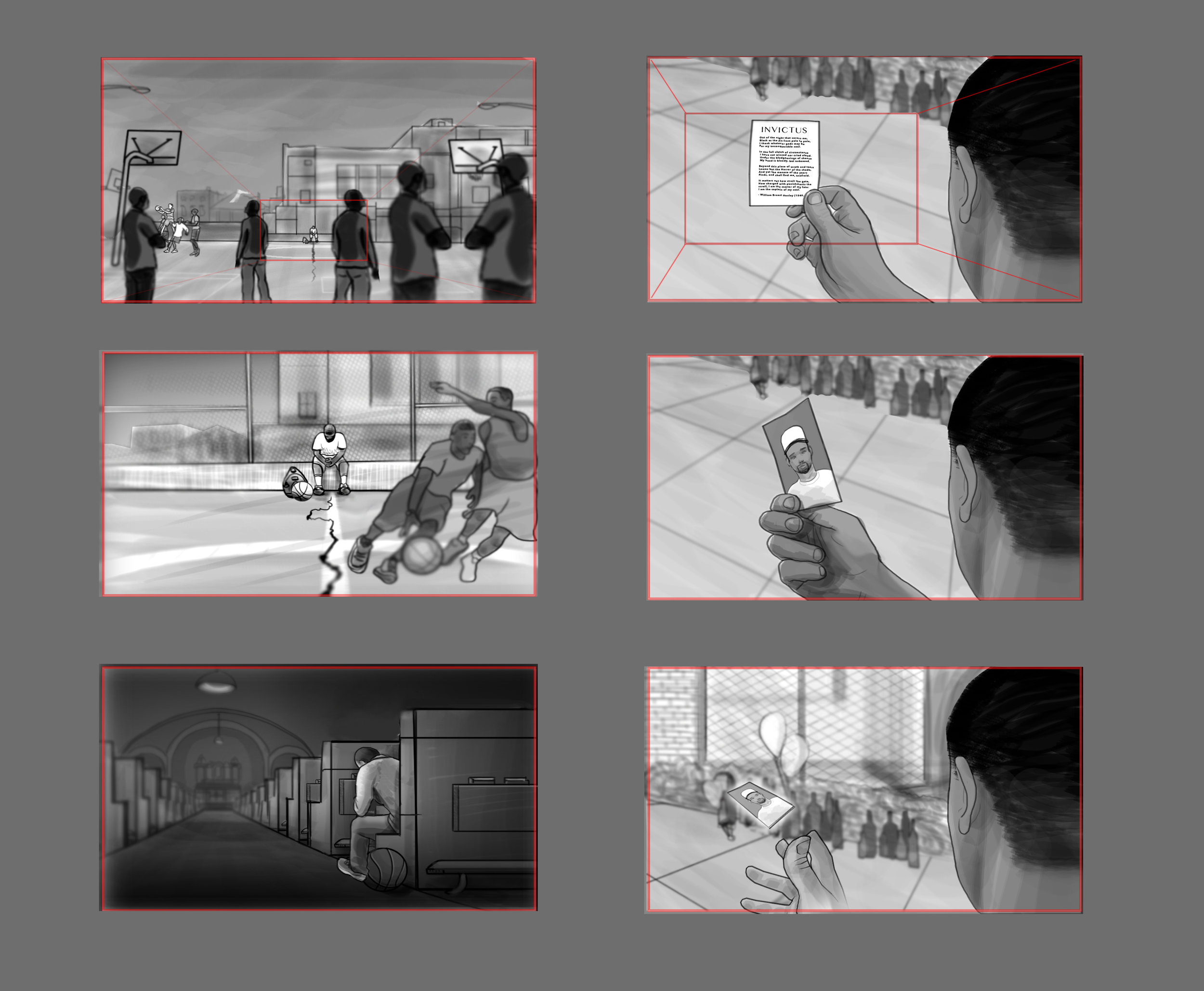 """Storyboards for """"Invictus"""" short film with Mozell Films"""