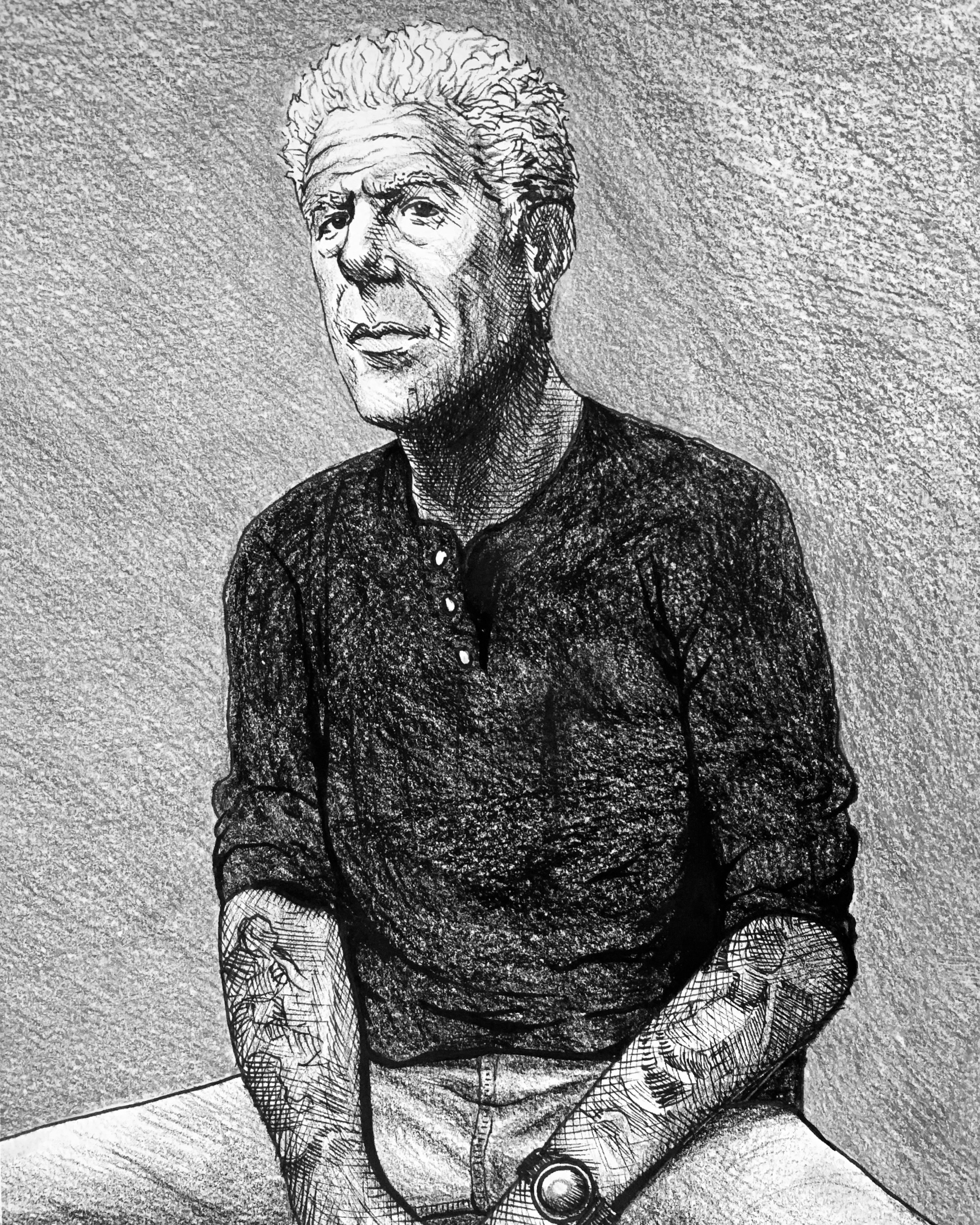 Anthony Bourdain - 2019 (pen and pencil)