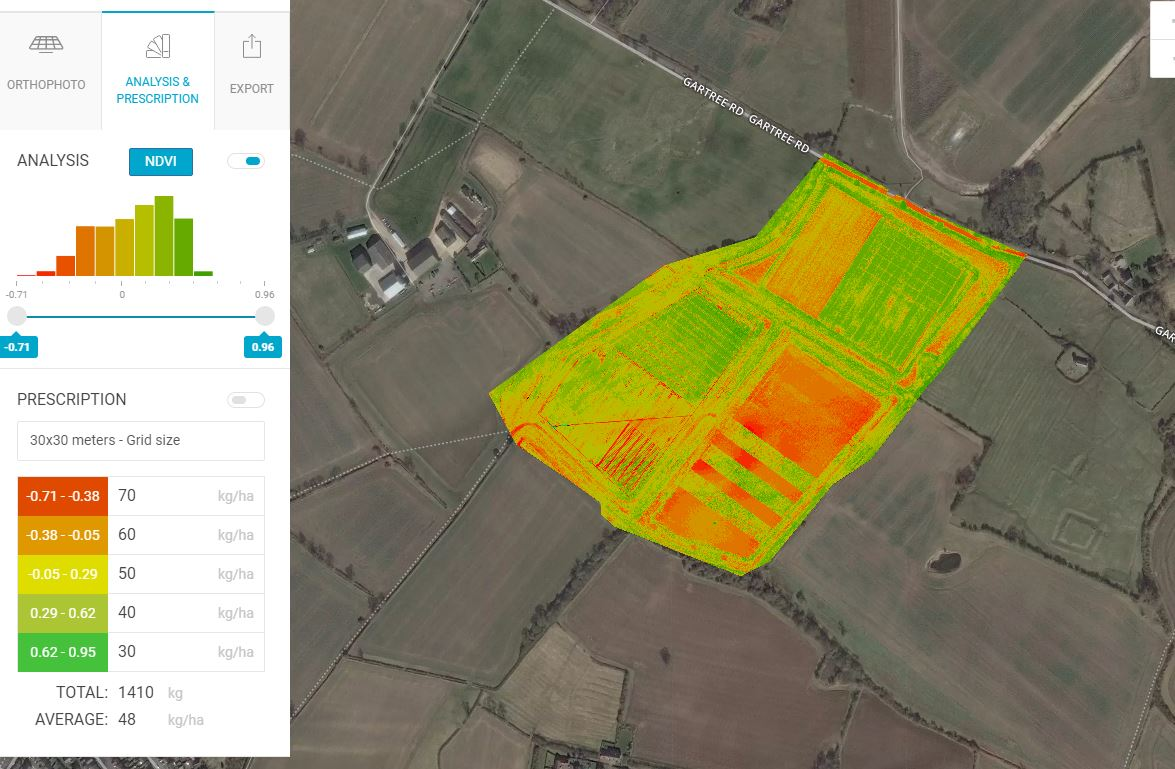 NDVI Survey, with prescription file.   Oadby, Leicestershire.
