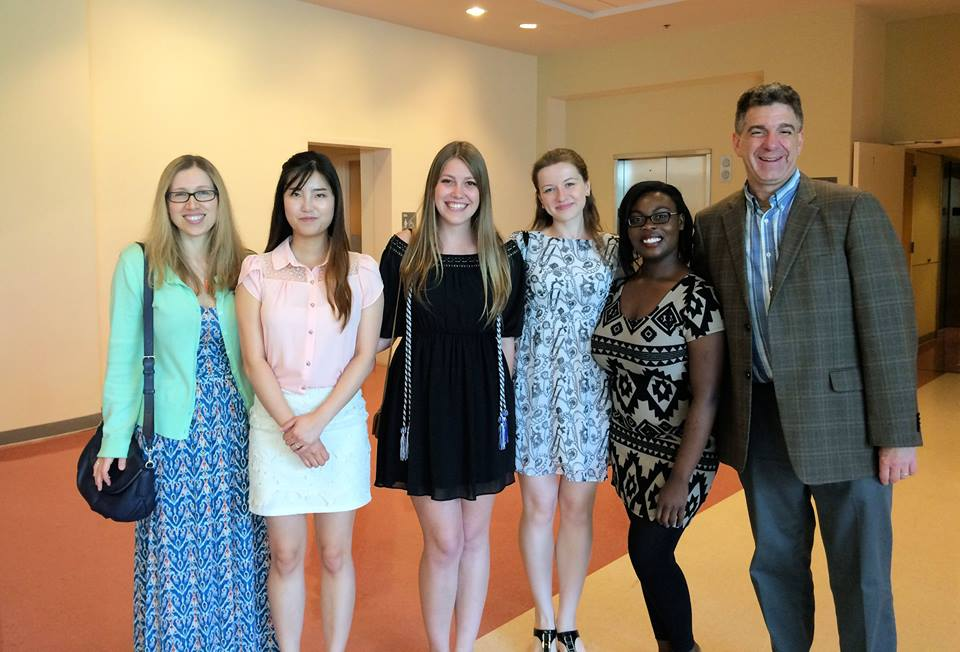 (Left to right) Janet Boseovski; undergraduate students Hye Lim Shin, Sarah Martin, Lera Tsygankova, and Nya Wilson; and Stuart Marcovitch