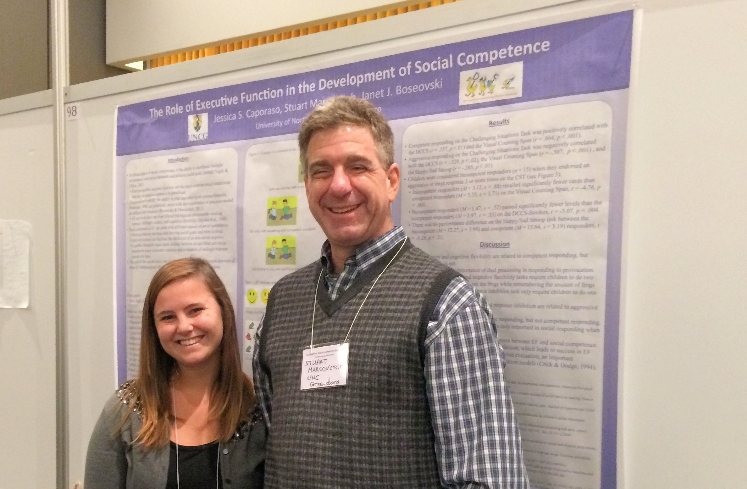 Stuart Marcovitch with graduate student Jessica Stark Caporaso, whose research focuses on how children's behavioral control skills are related to their social competence