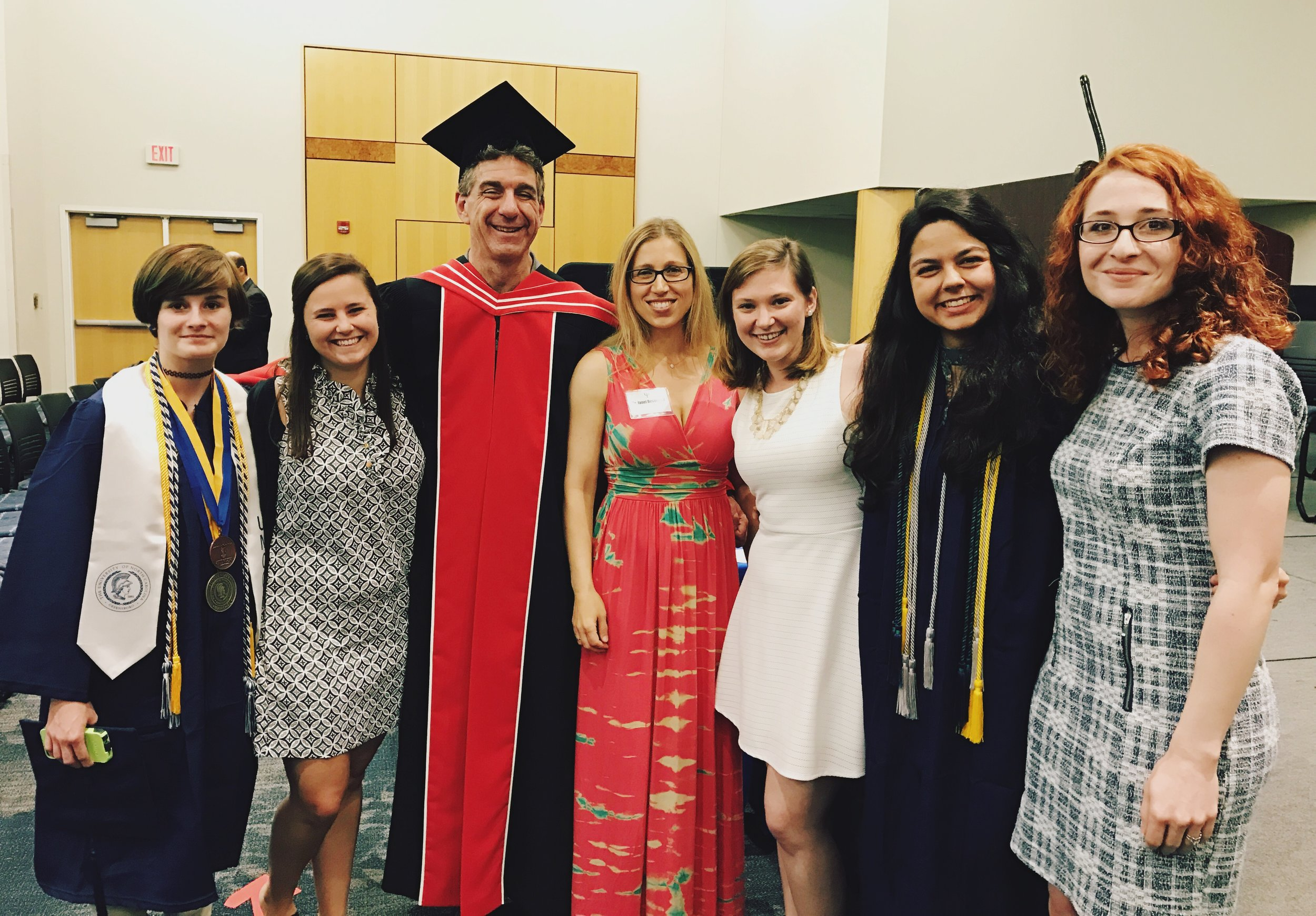 From left: Kris McClamrock (BA), Jessica Caporaso (MA), Dr. Stuart Marcovitch (Head of Psychology and DUCK Lab Co-Director), Dr. Janet Boseovski (DUCK Lab Co-Director), Kimmy Marble (MA), Amber Campos (BA), Delaney Collyer (MA).
