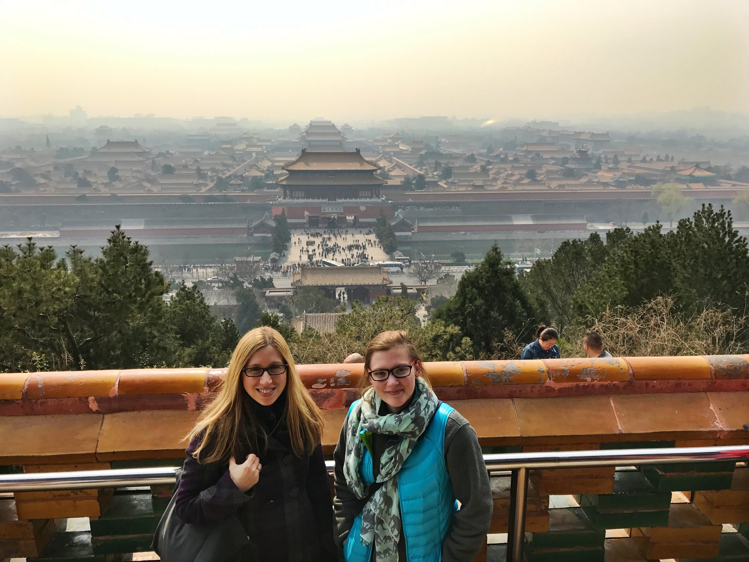 "Janet and Kimmy with the ""Forbidden City"" behind them in Beijing."