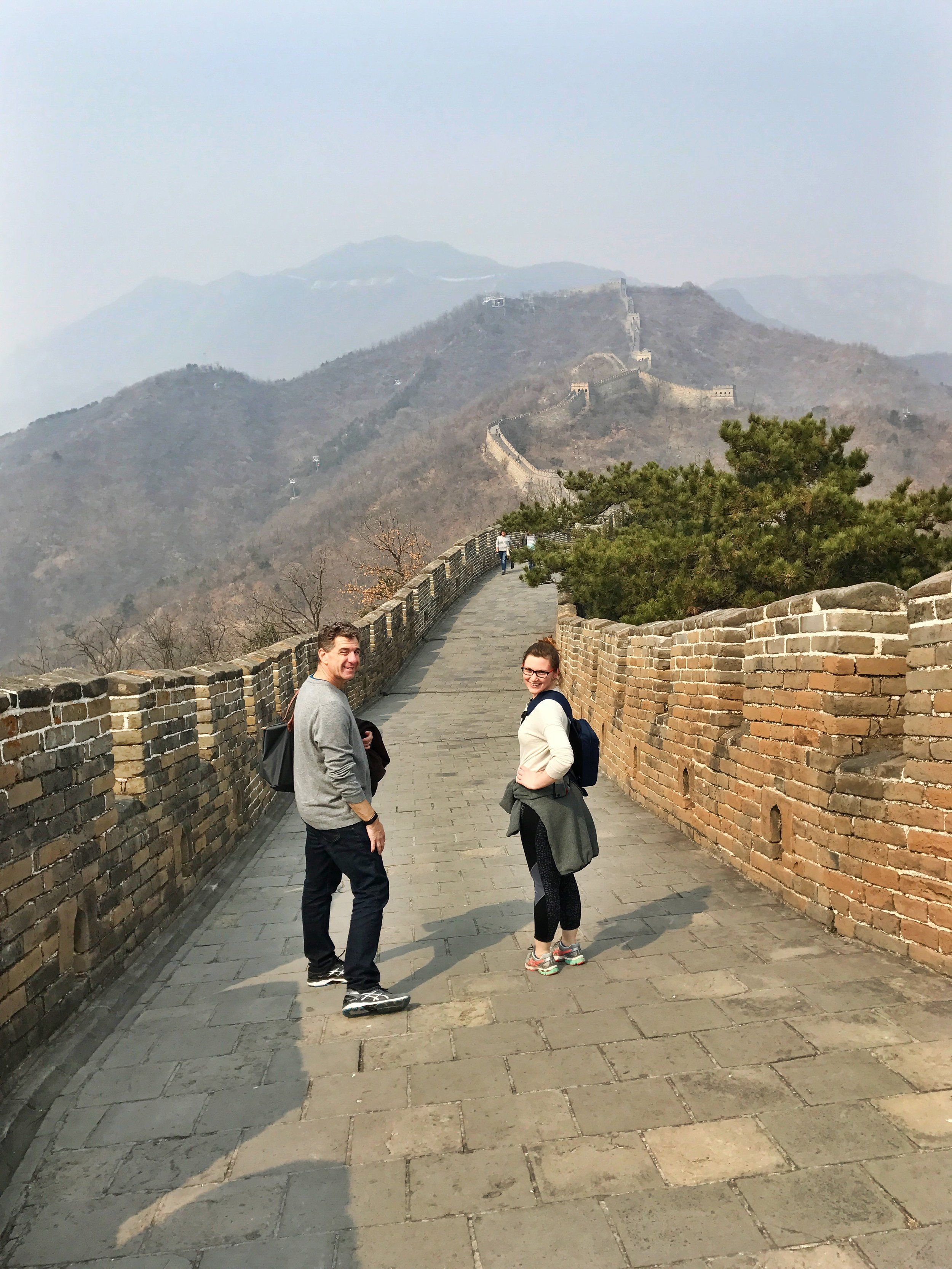 Stuart and Kimmy on the Great Wall, checking out the views.