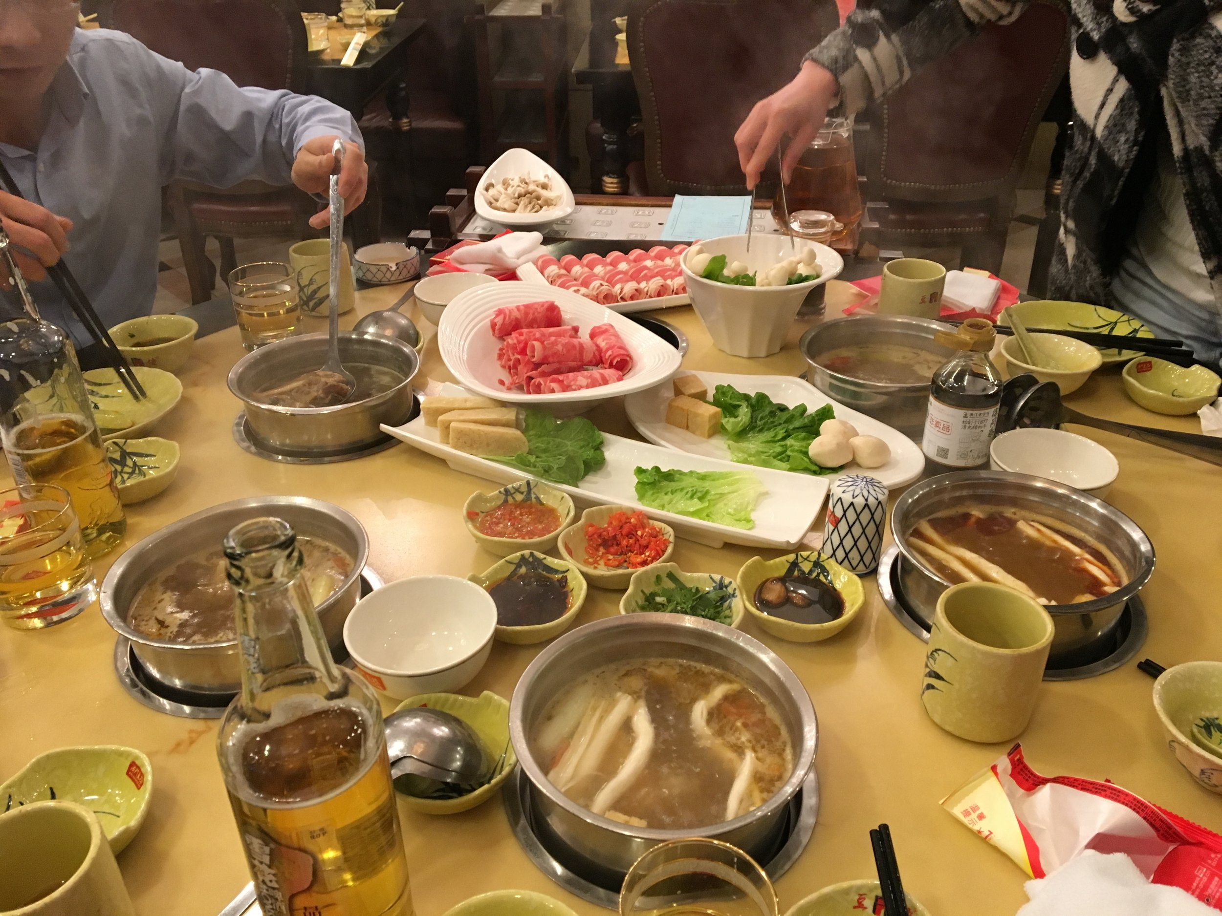 """Hot pot"" dinner: Pick your broth, add which veggies or meats you would like to cook in it, and enjoy!"