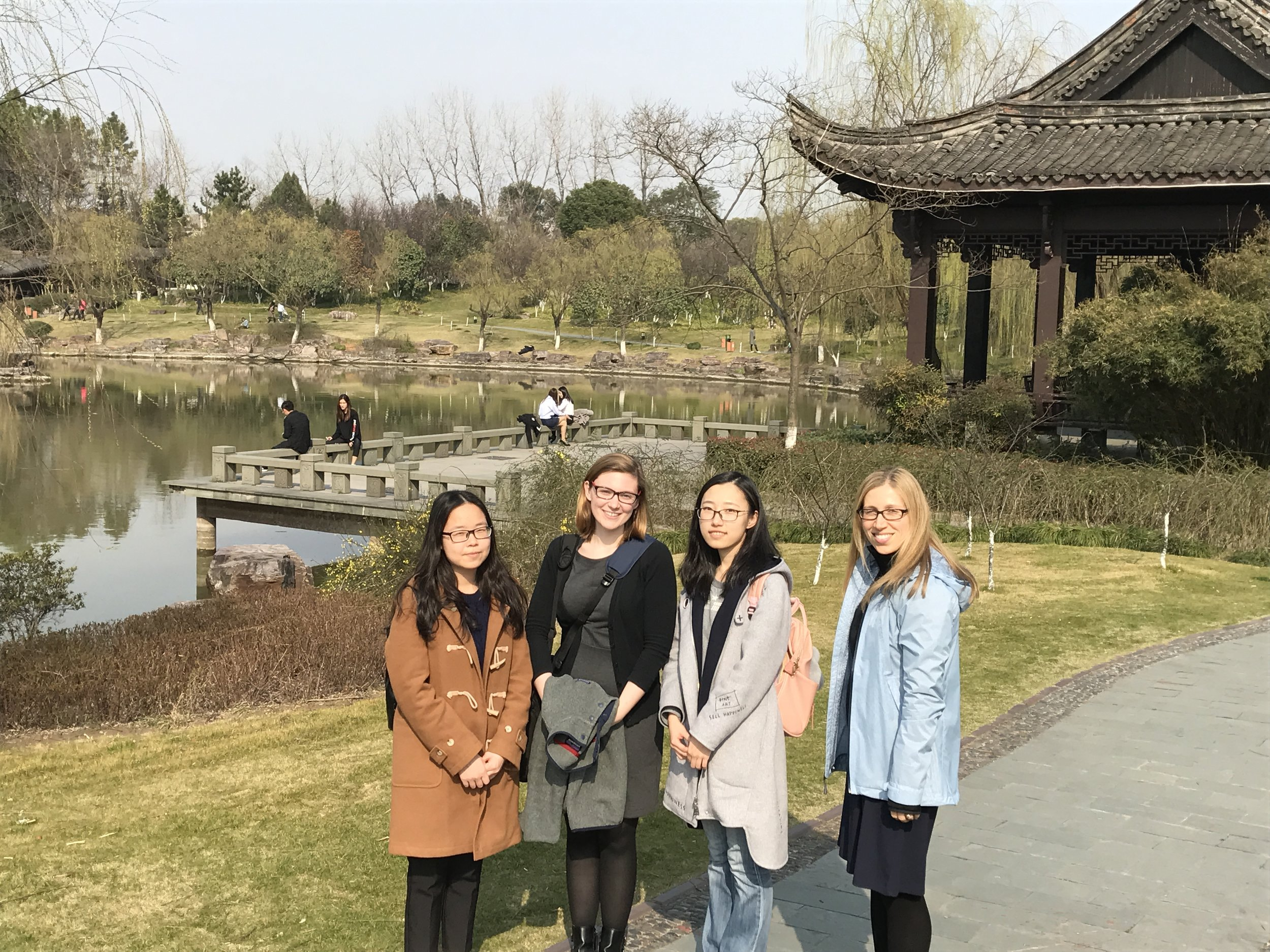 Kimmy and Janet took a stroll with graduate students Joy and Nora after a meeting at Zhejiang Sci-Tech University.