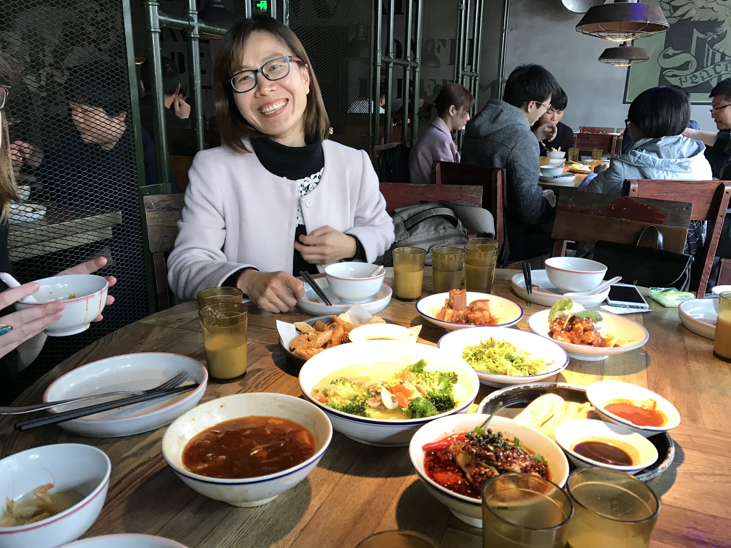 Dr. Fengling Ma, our collaborator at Zhejiang Sci-Tech University, graciously treated us to authentic dishes common to Hangzhou, China.