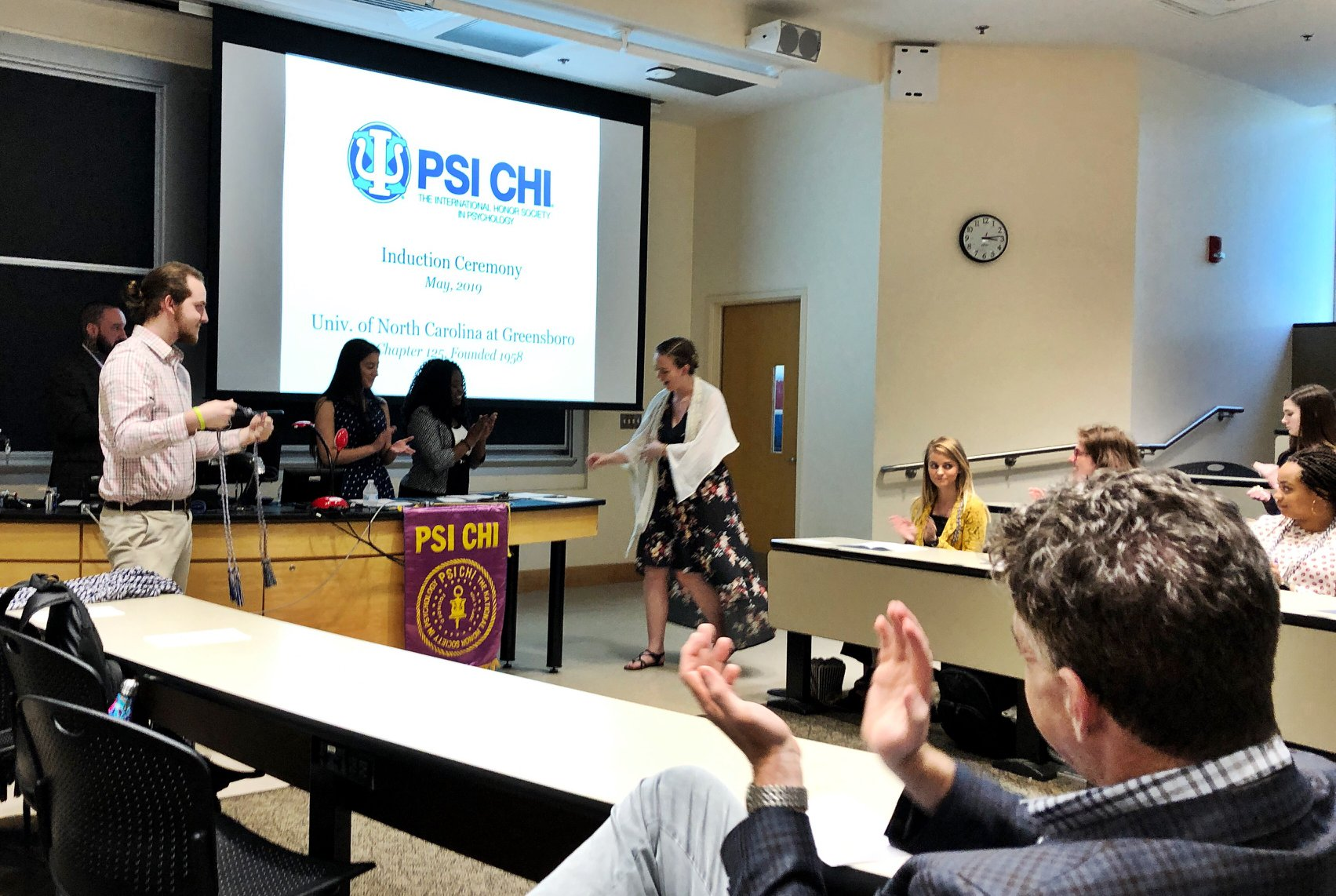 Abby being inducted into Psi Chi