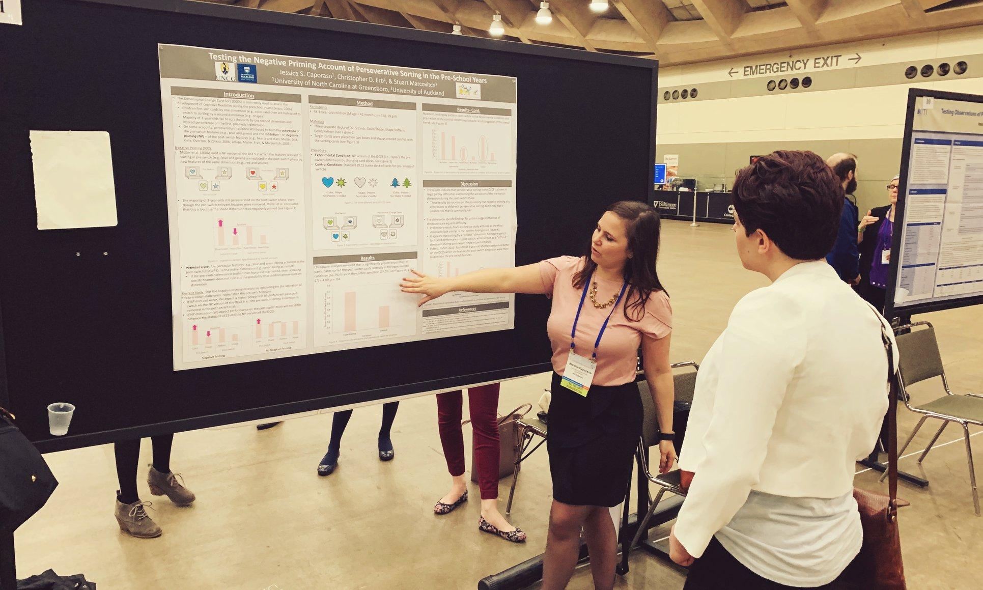 Graduate student Jessica Caporaso presenting her research