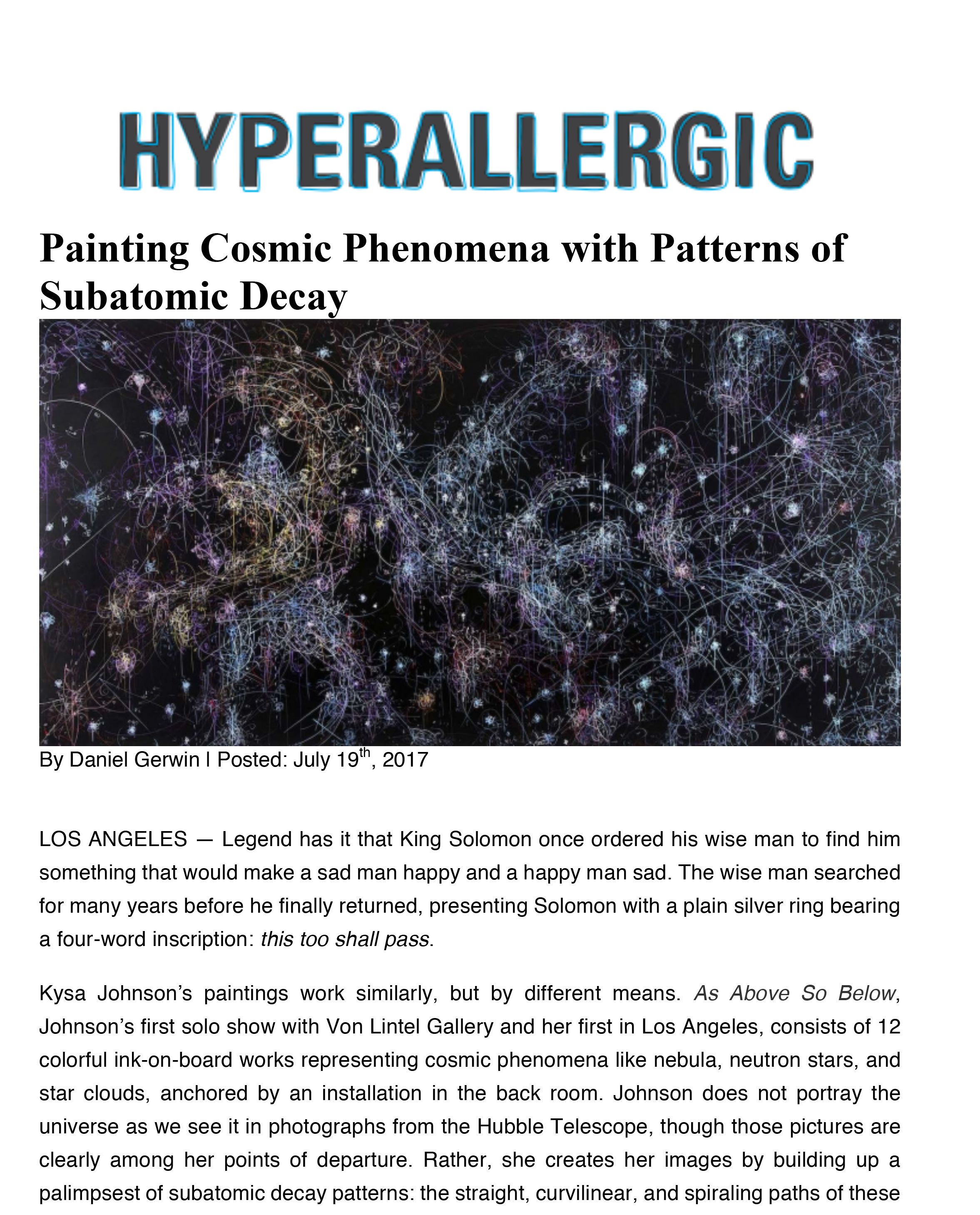 Hyperallergic - Painting Cosmic Phenomena with Patterns of Subatomic Decay