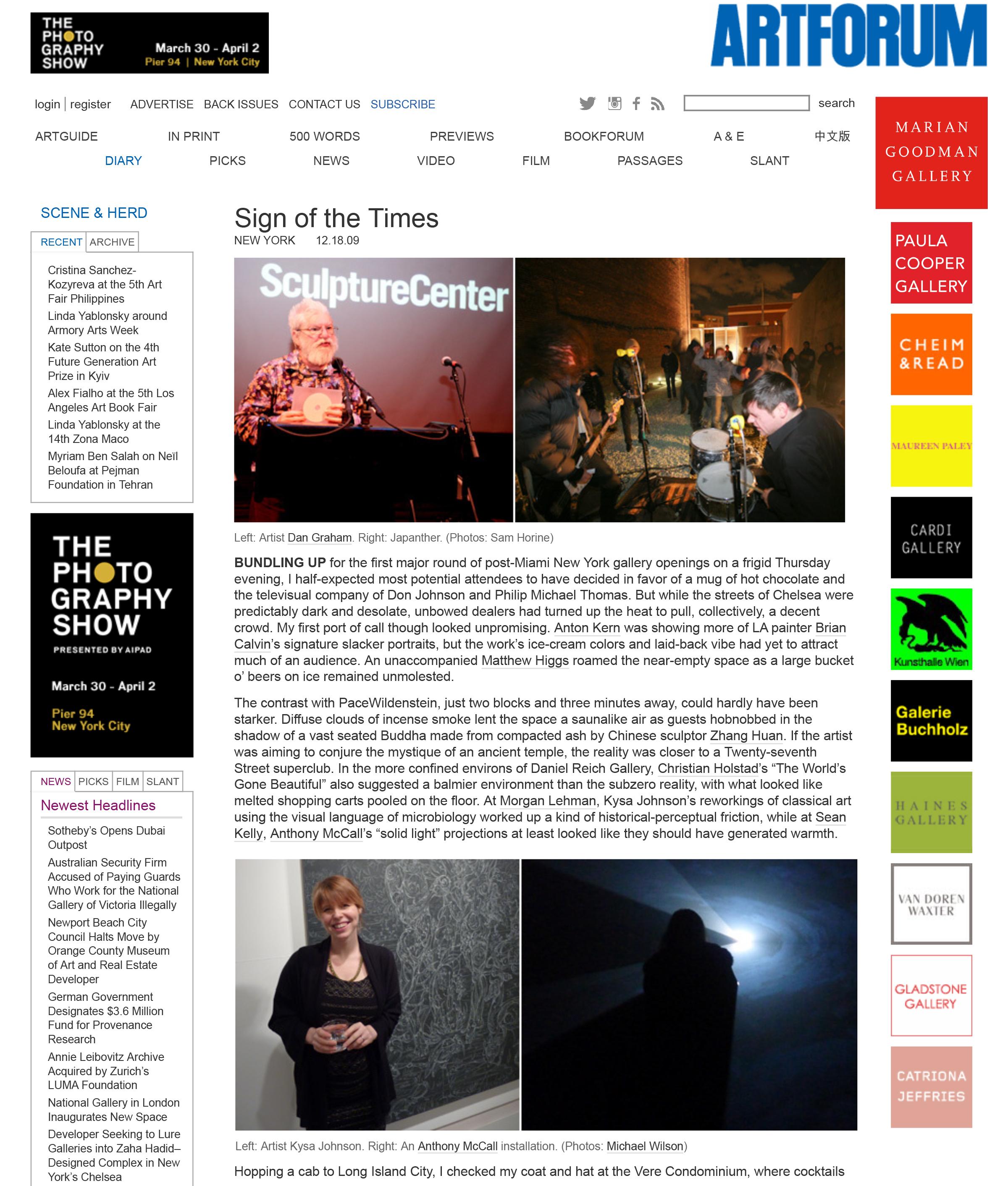 ArtForum Scene and Heard Morgan Lehman