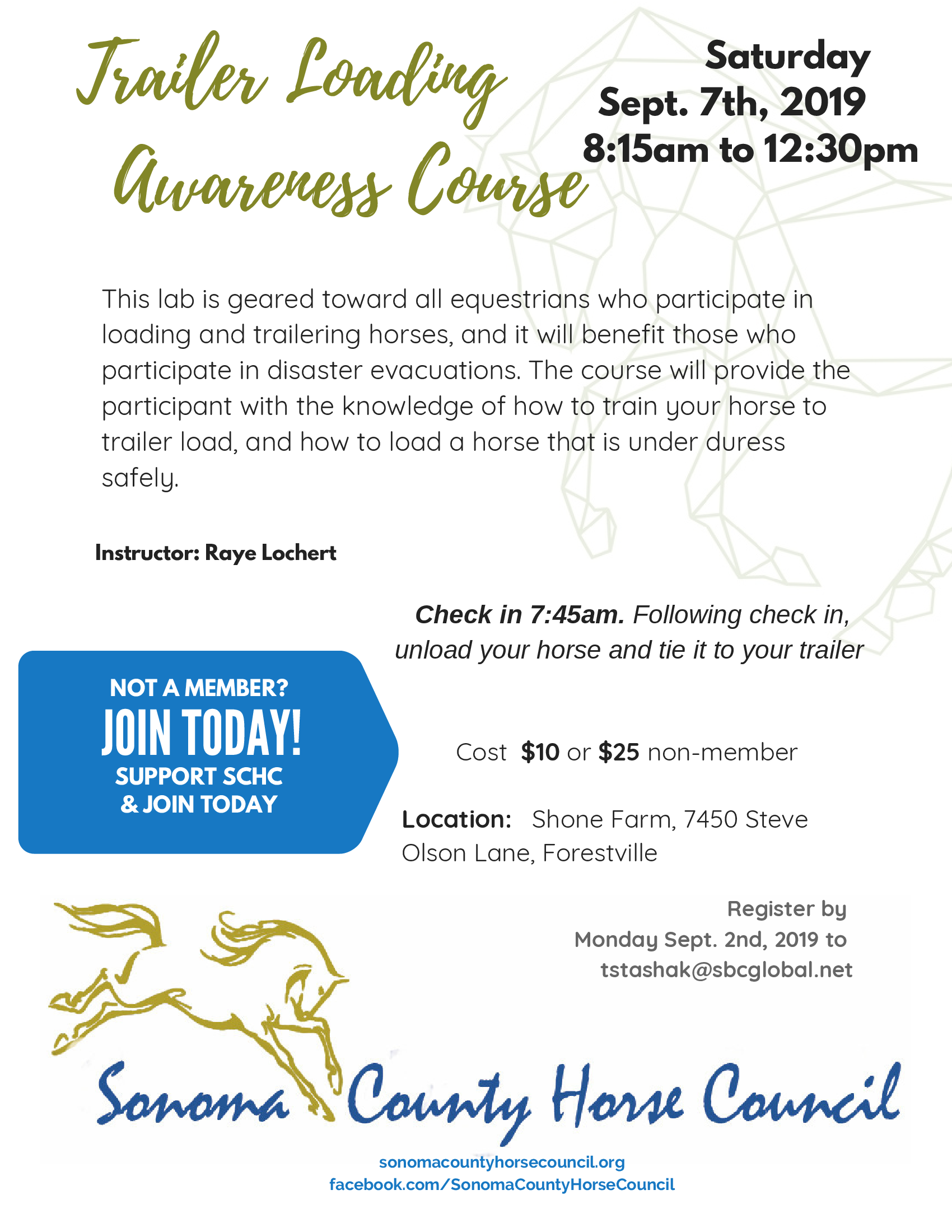 Sonoma County Horse Council Trailer Loading Awareness Course