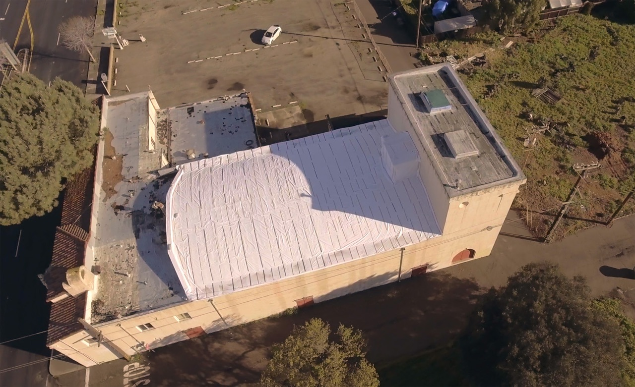 The pigeons were humanely evicted and all re-entry points in the roof were closed, preventing their return. We contracted with Lompoc's McIntosh roofing company to wrap the leaking roof with a waterproof tarp to prevent any further damage from weather.
