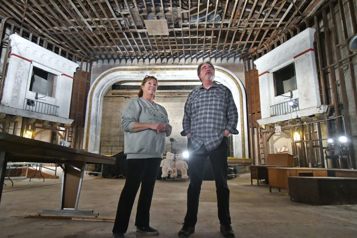Anne Ramsey, Lompoc Theatre Project board member, and Mark Herrier, president, talk about renovations inside the Lompoc Theatre, on Monday.  (Len Wood, Lompoc Record)