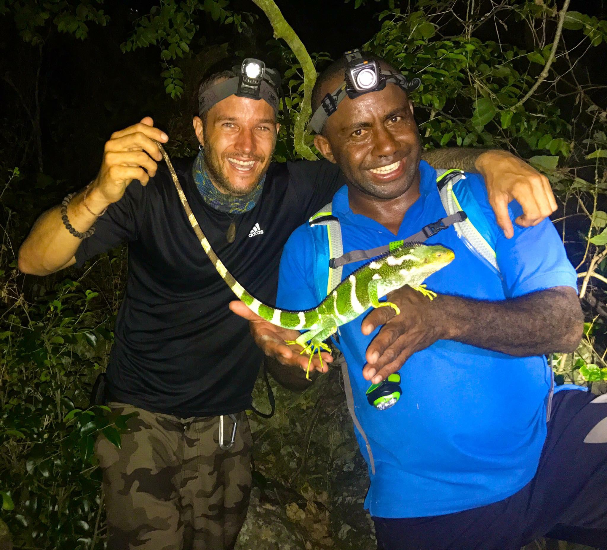 Joey and Jhaba, his field partner and Iguana Ranger for Monuriki Island.