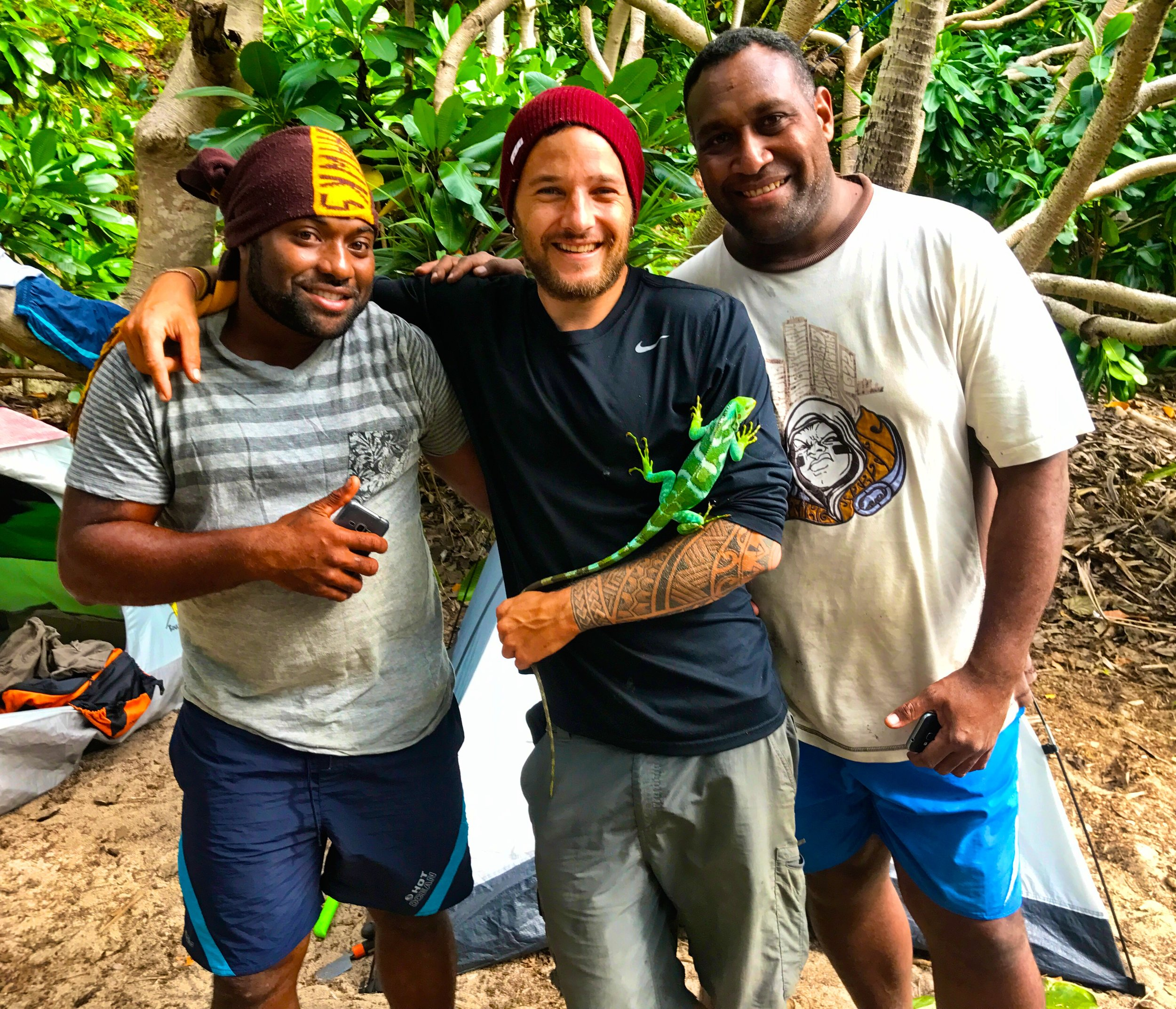 My Fijian brothers and the conservation allstars of Fiji, Mata and Jone. Jone works with the National Trust of Fiji and Mata is the head Iguana Ranger on the island of Yadua Taba. (Fiji 2017).