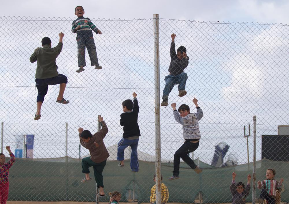 Syrian refugee camp fence