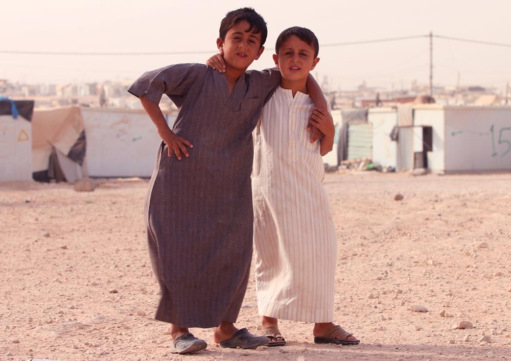 Syrian boys refugee portrait