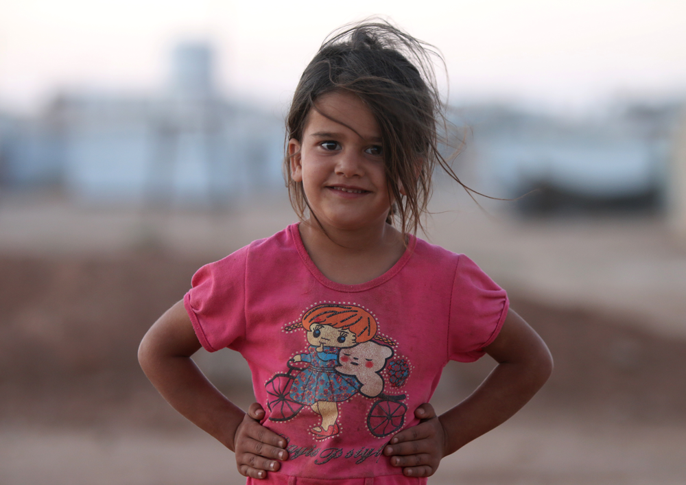 Syrian young girl refugee portrait