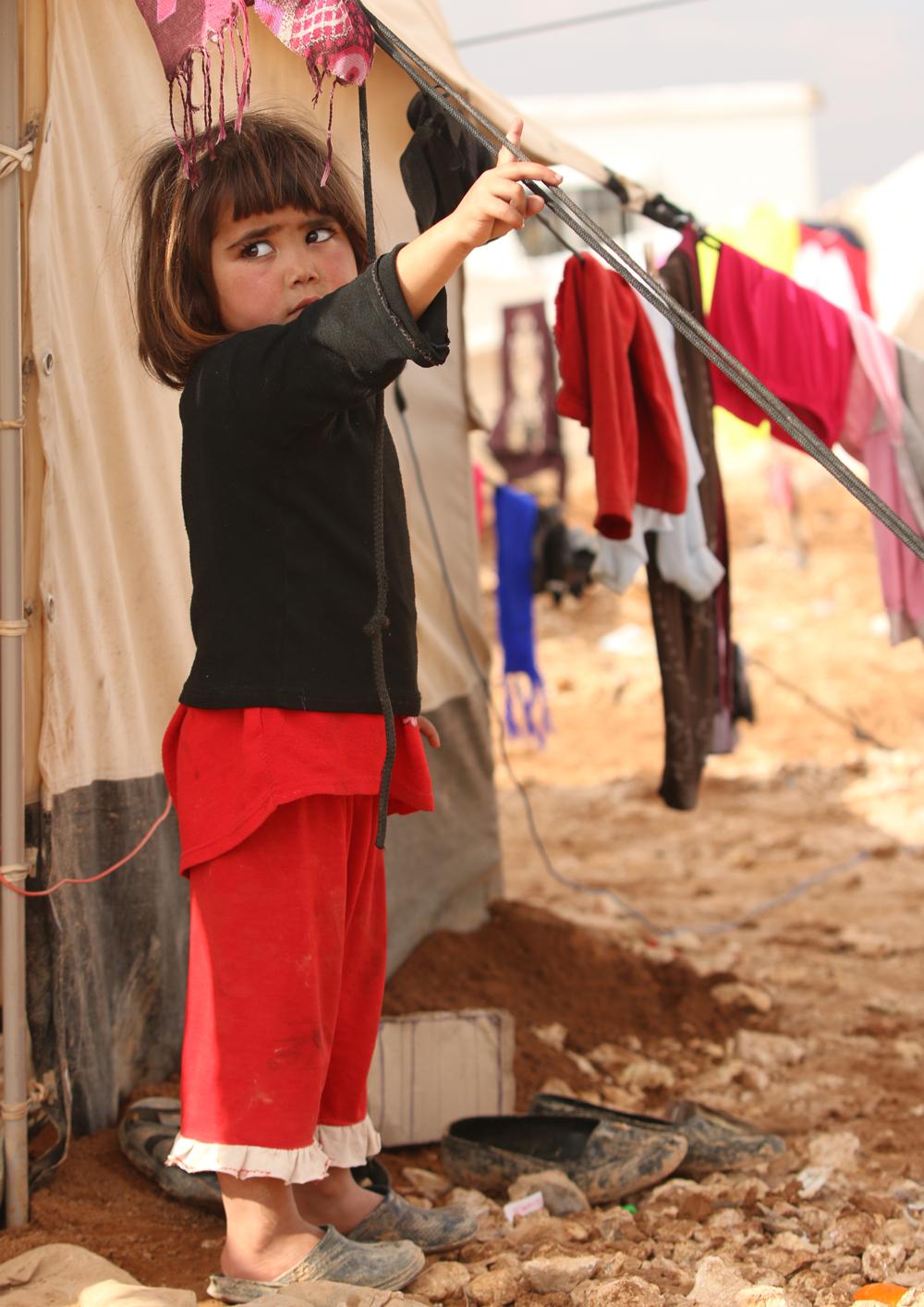 Syrian refugee toddler portrait