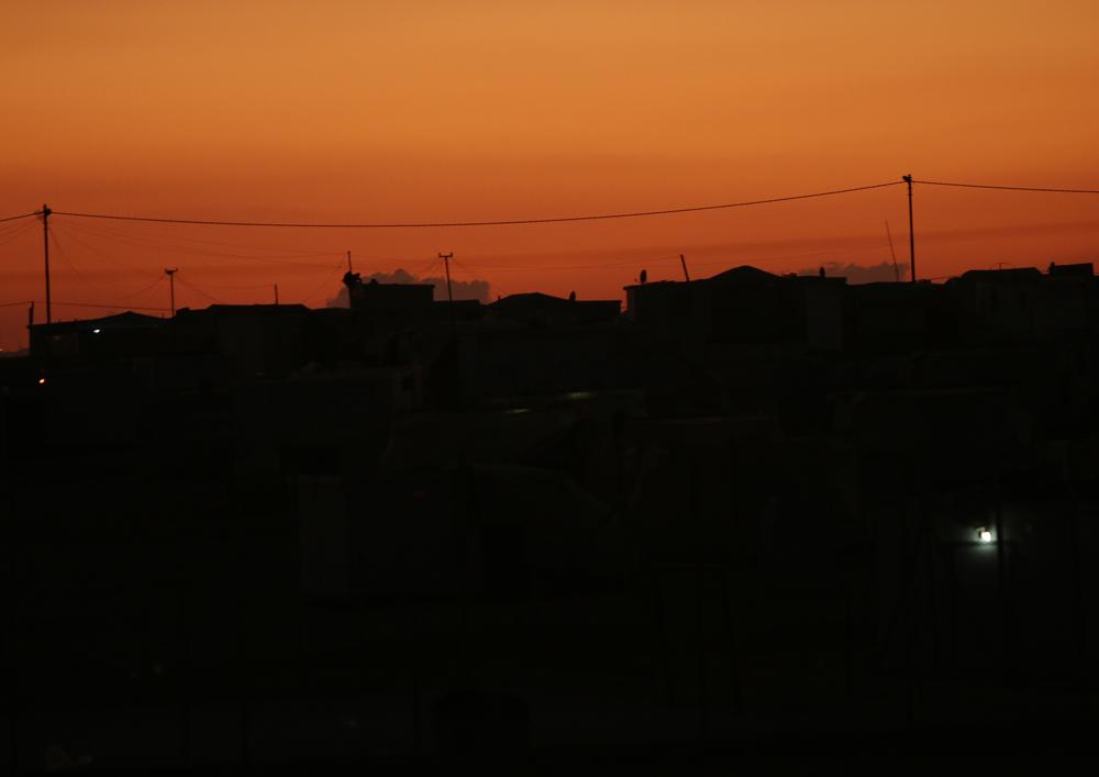refugee camp dusk