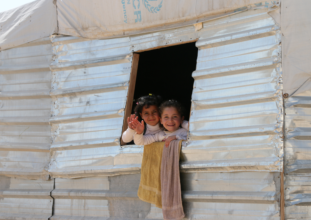 Syrian children in tent