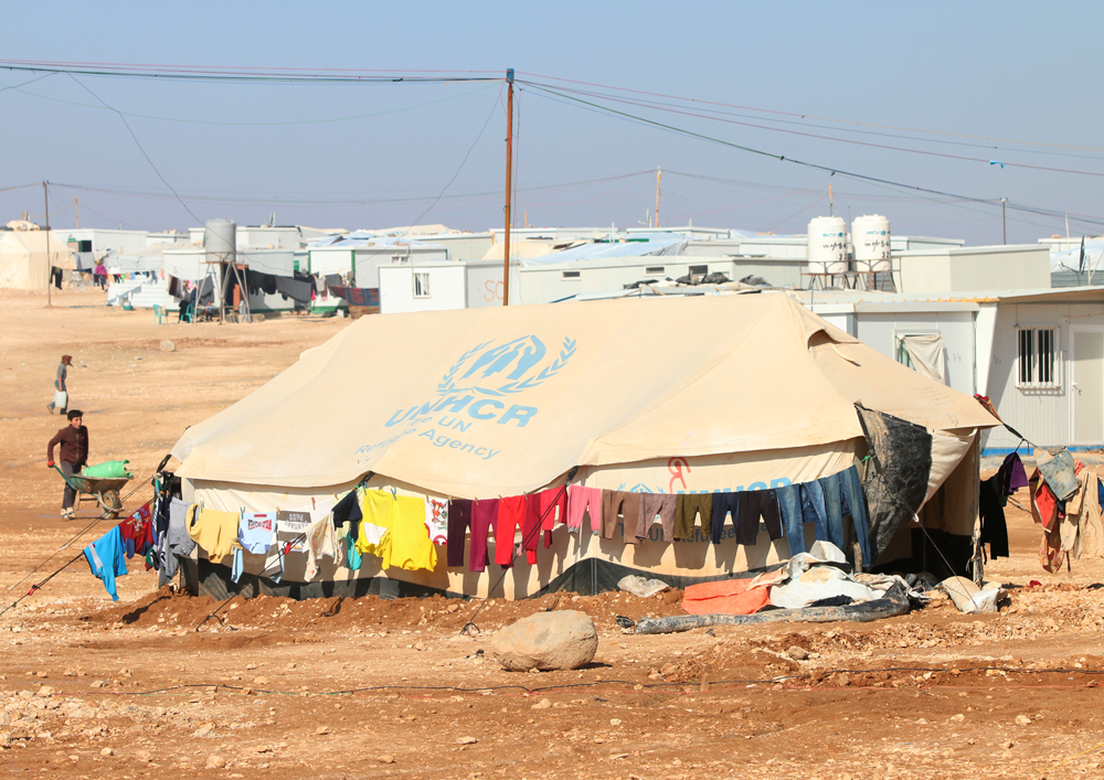 Laundry at UNCHR refugee camp tent