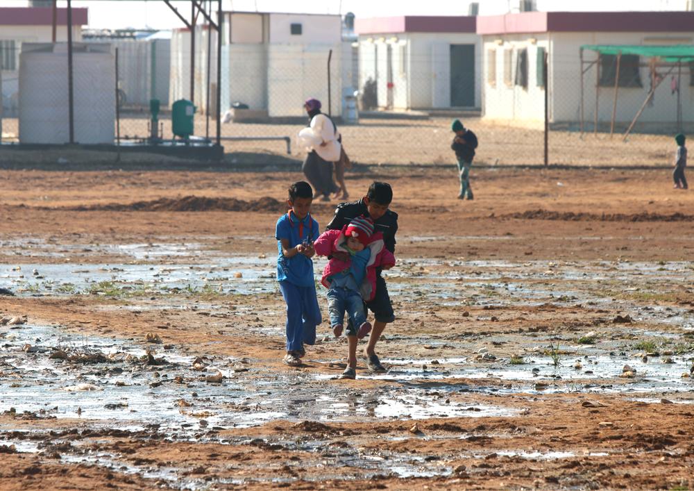 Syrian children refugee camp life