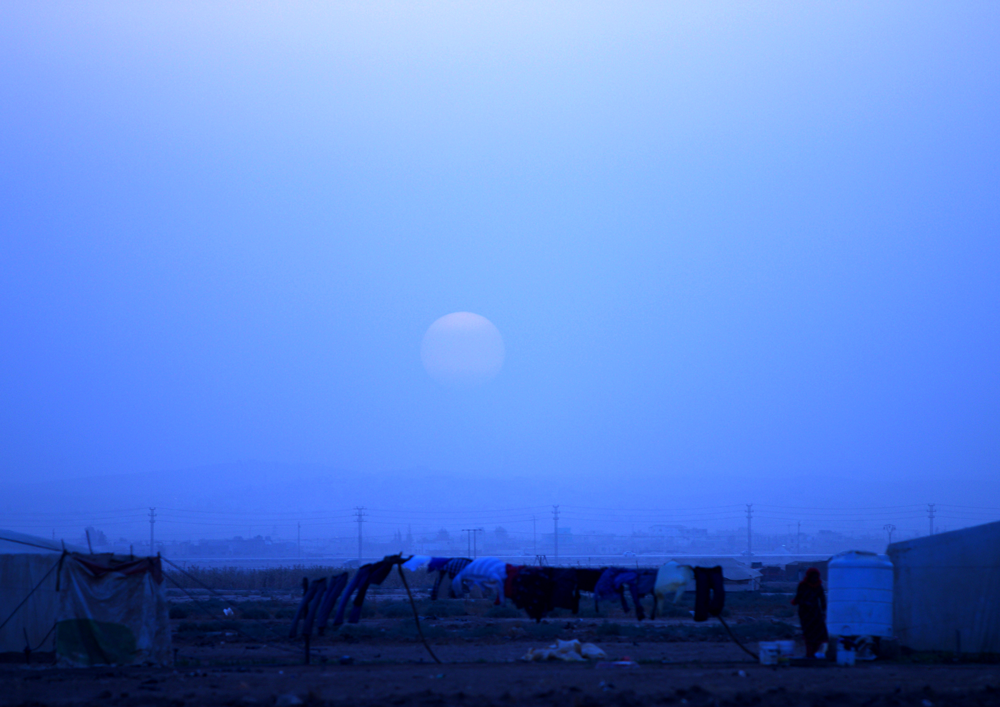 Moonrise at Zaatari refugee camp