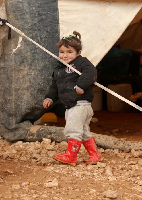 Syrian refugee toddler tent
