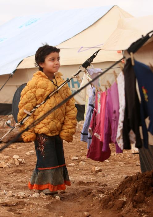 Syrian refugee child camp portrait