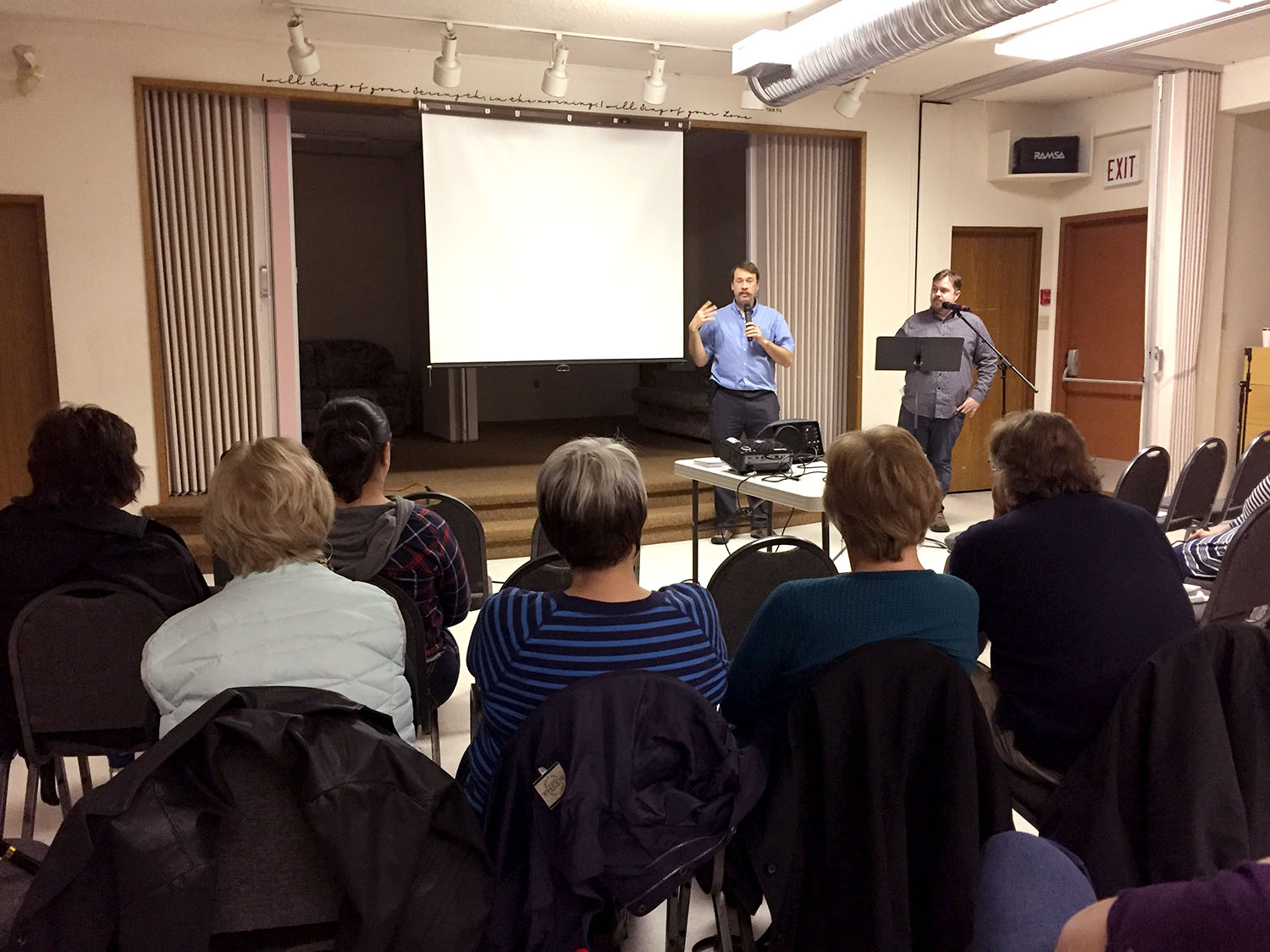 Conrad Stoesz (left) and Andrew Wall (right), answering questions after the screening of  The Last Objectors at Sterling Mennonite Fellowship.