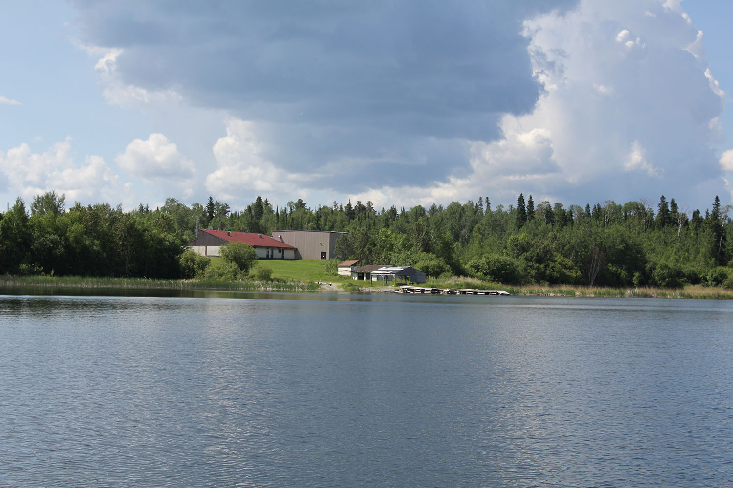 A view of Shoal Lake from the barge which residents use to cross over to the mainland.