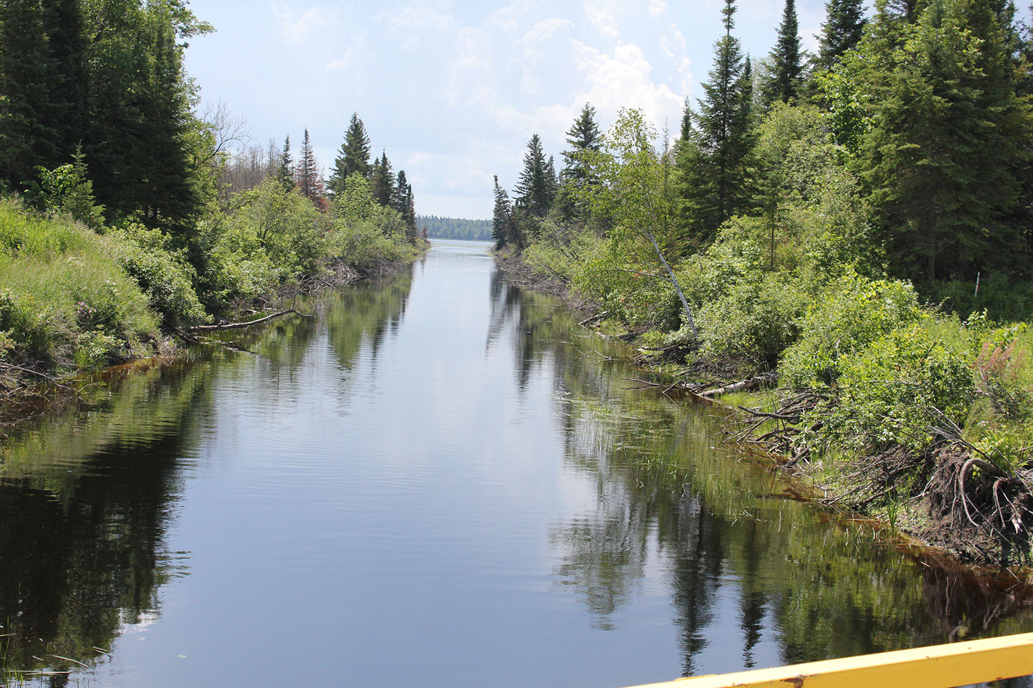 The canal that diverges water away from the aqueduct intake that turned the community of Shoal Lake 40 into an island.