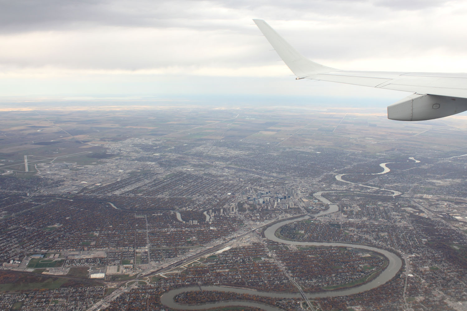 A picture take out of a plane I was on over my home, Winnipeg, MB.