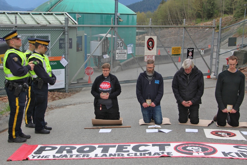 Steve Heinrichs is third from the right. Photograph By LAUREN BOOTHBY.http://www.burnabynow.com/news/protesting-pastors-arrested-at-kinder-morgan-facility-in-burnaby-1.23275615