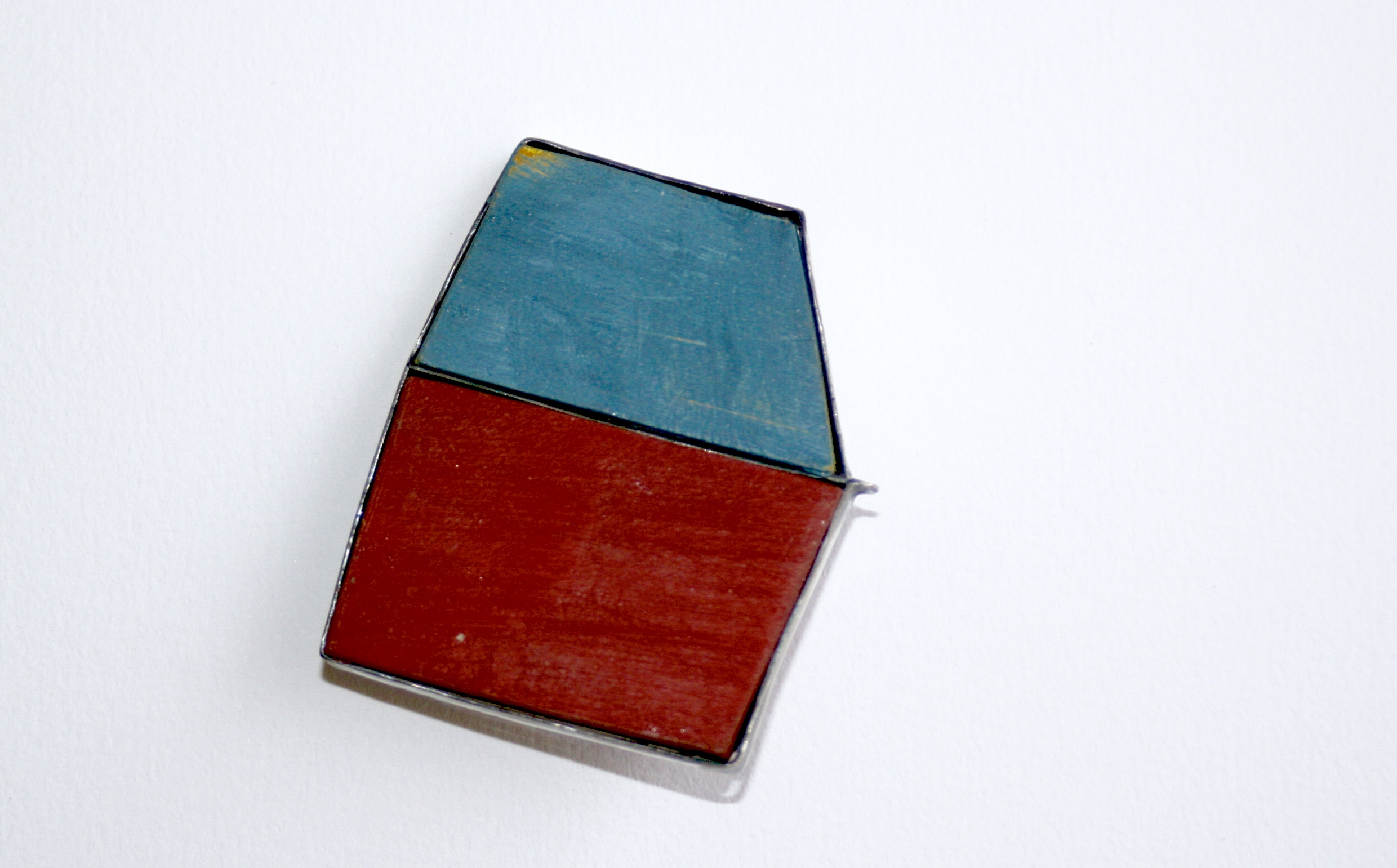 Blue, Red Brooch. Sterling silver, wood. 2016