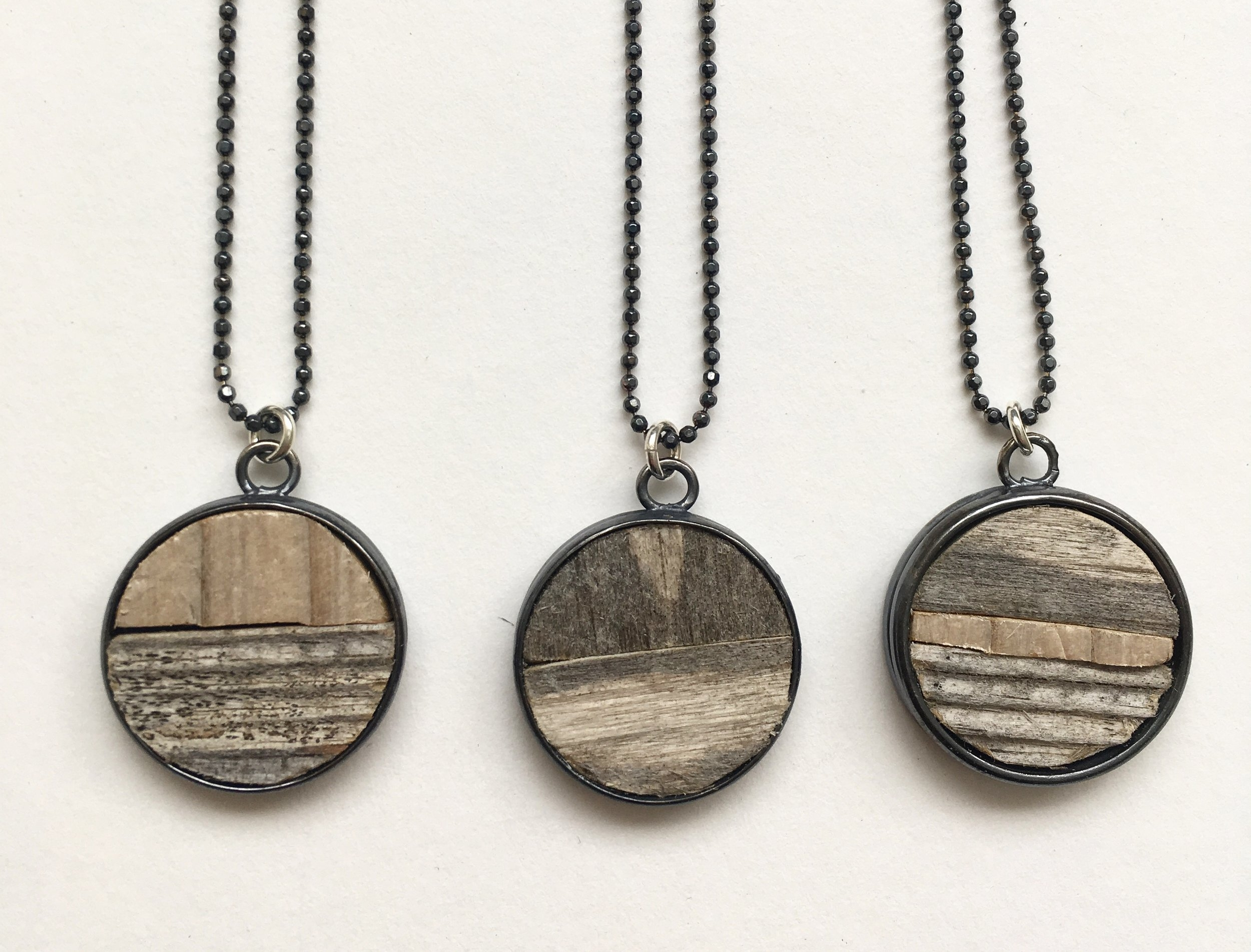 Driftwood necklace, sterling silver and driftwood. 2018
