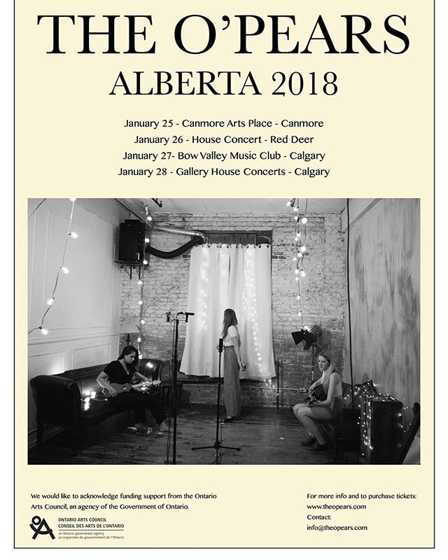 Alberta here we come! Links and ticket info on our website @artsplacecanmore @bowvalleymusic @gallerycalgary #albertaarts #albertatour #mountaintime #prairietime #pearytime #canadianfolk