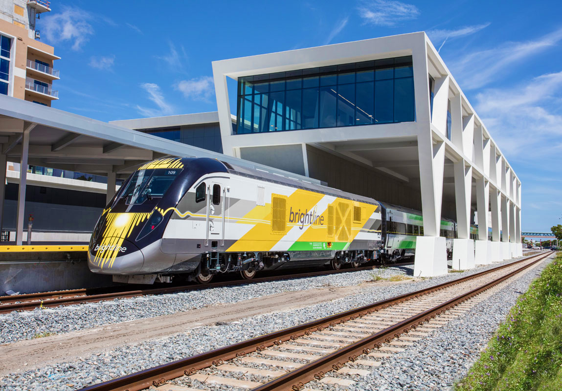 Brightline Highspeed Train travels between West Palm, Fort Lauderdale, and Miami within 30 minutes!