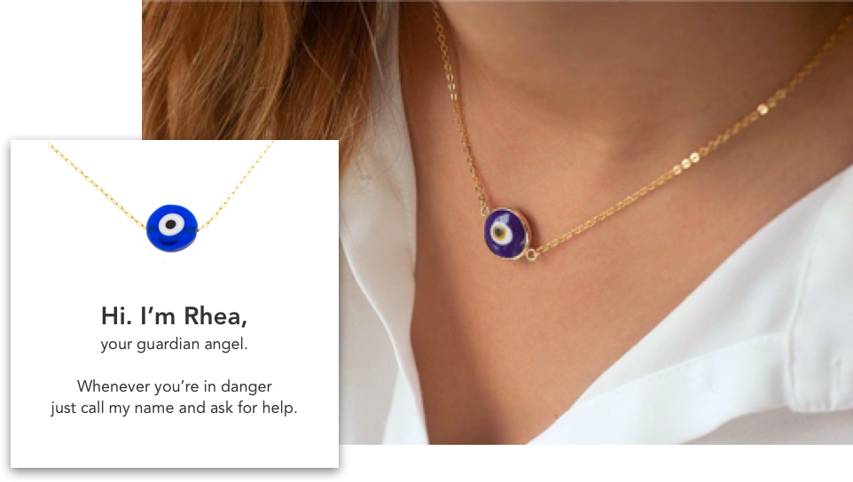 Guardian Angel - Rhea is a wearable device that acts as a voice-activated panic button