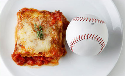 size comparison of amount of lasagna to baseball