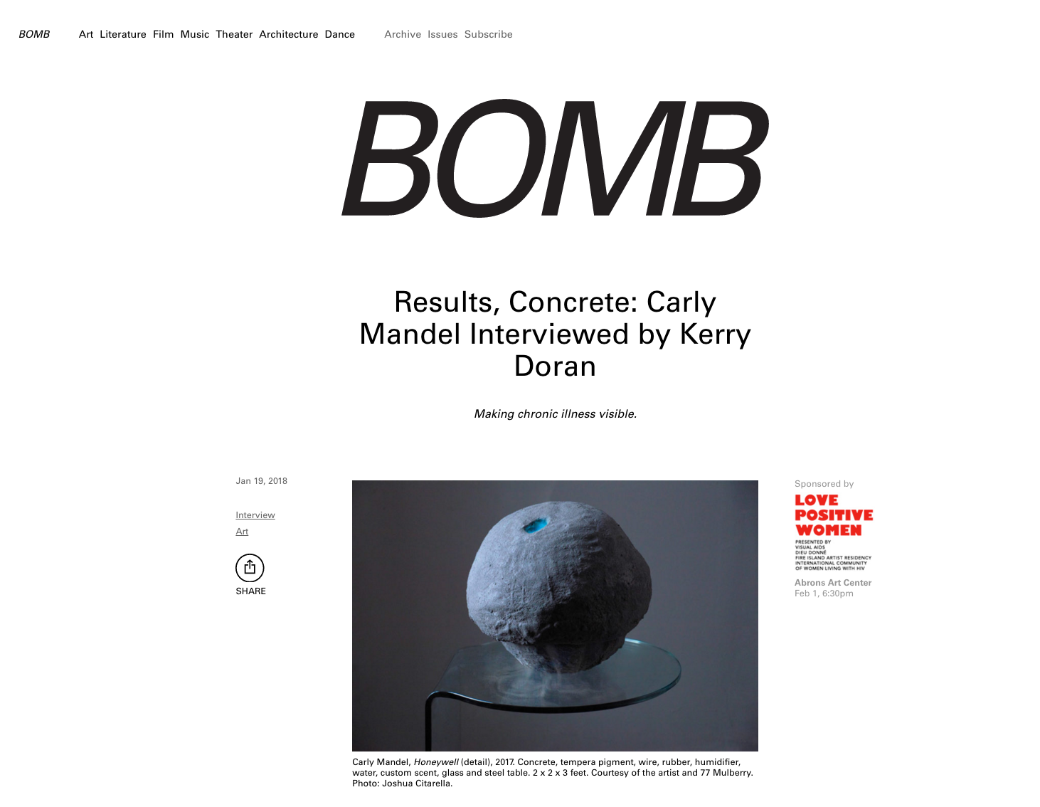 Carly Mandel:  Osseous  in    bombmagazine.com