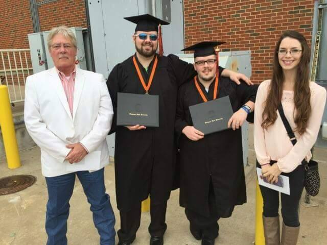 Chad (second from right) graduating from Oklahoma State University May 2015