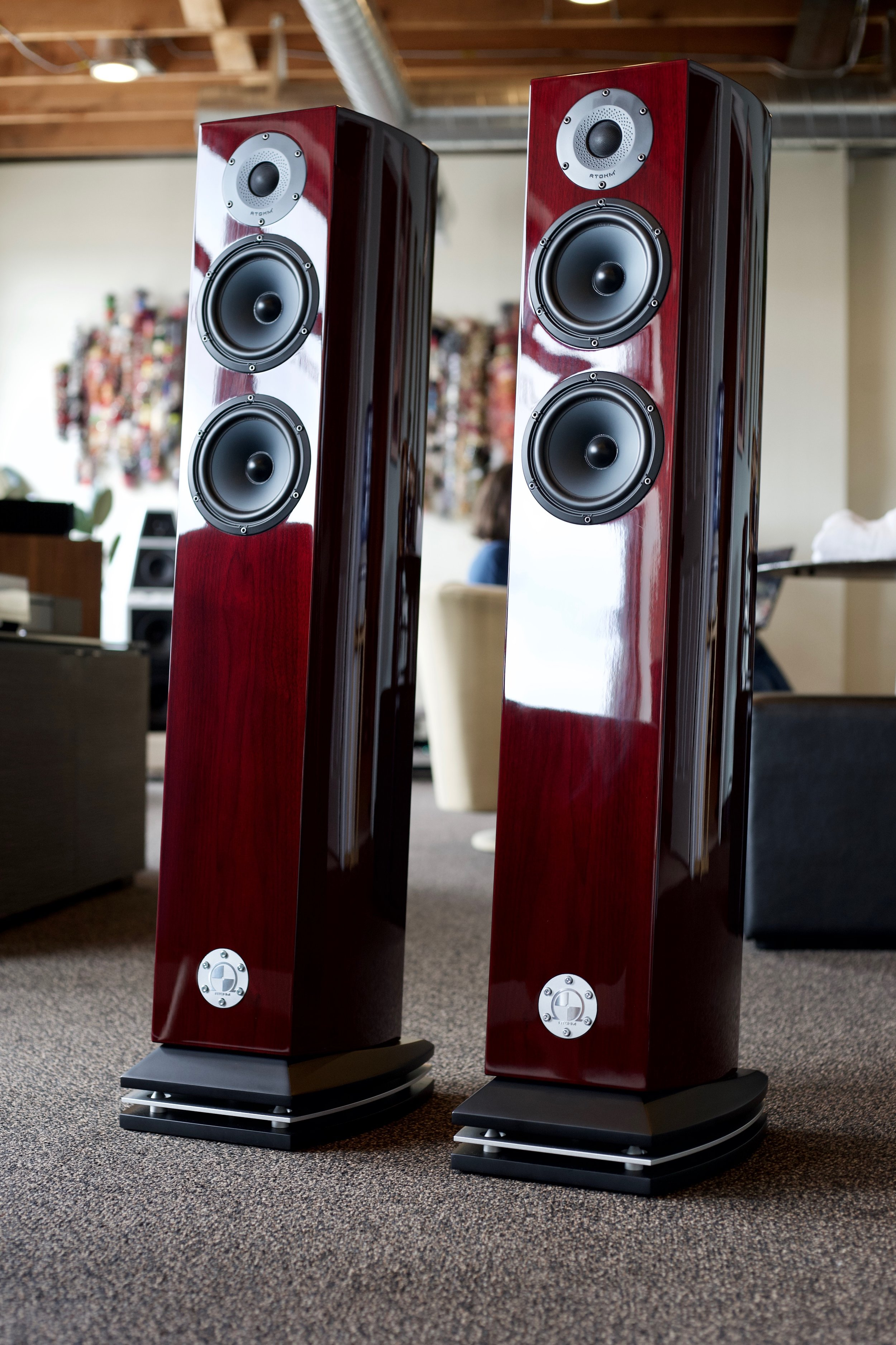 Atohm GT2 HD   Beautiful finish floor standing speakers with glorious sound. Great flexibility in placement with the down-firing port, and great resolution to get the most out of your recordings.   Come on in and check them out!