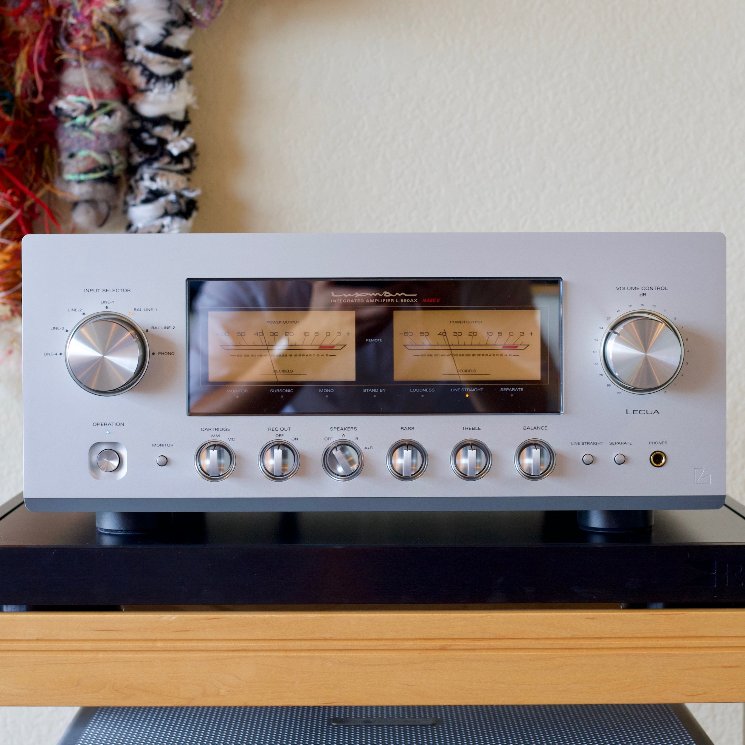 Luxman L-590AX II  - Integrated Amplifier  Pure Class-A 30-watt amplifier with subtle glowing orange meters. Built-in MM/MC phono input, adjustable tone/balance, headphone amp.   See store for details