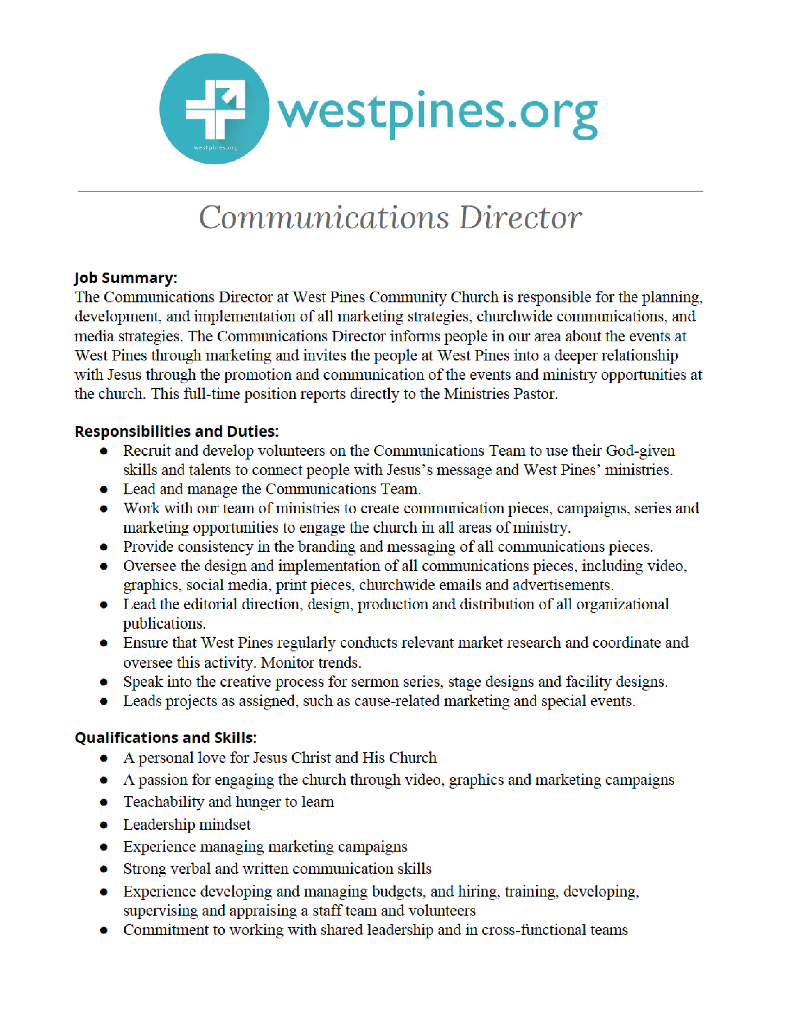 West Pines Communications Director Job Opening.png