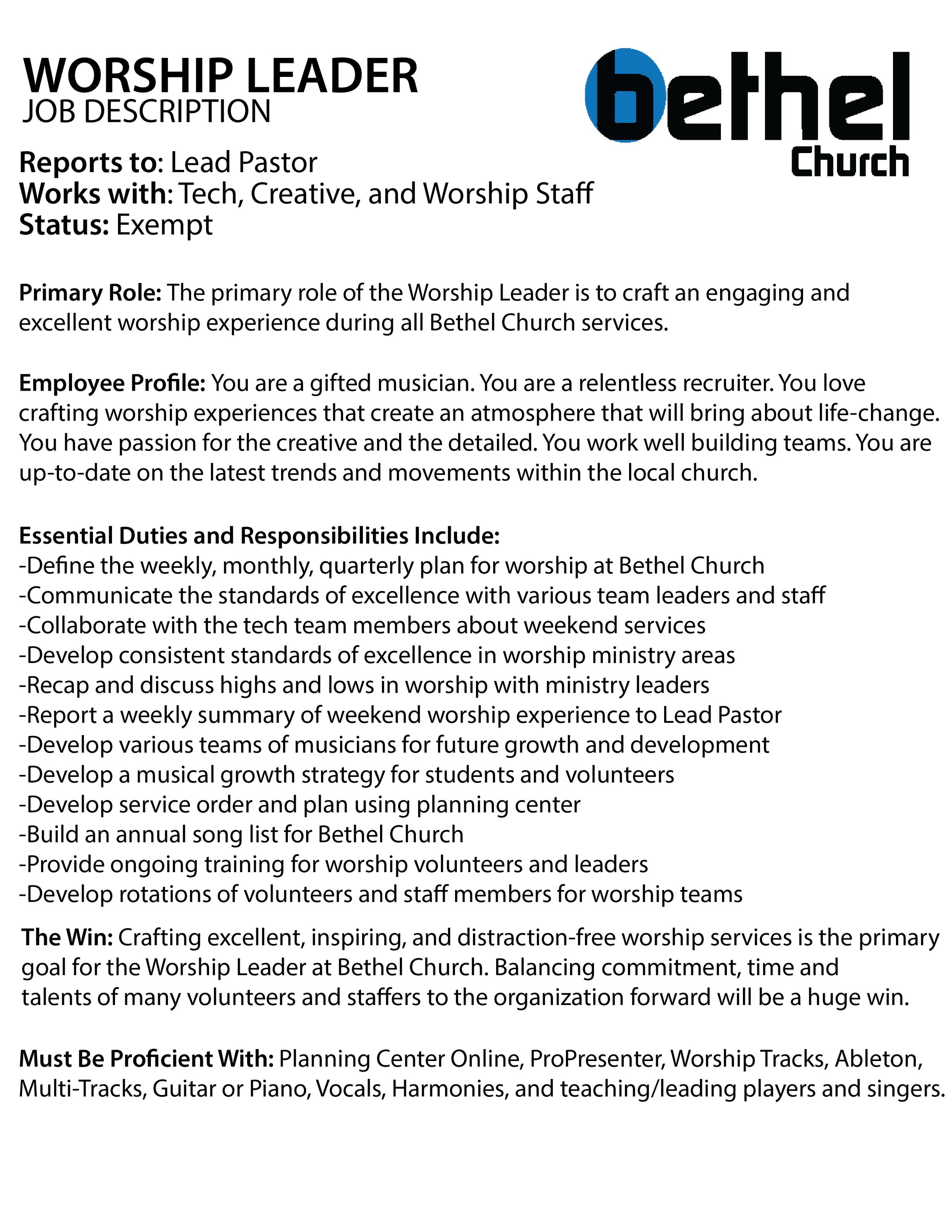 Bethel Church Worship Leader Job Description